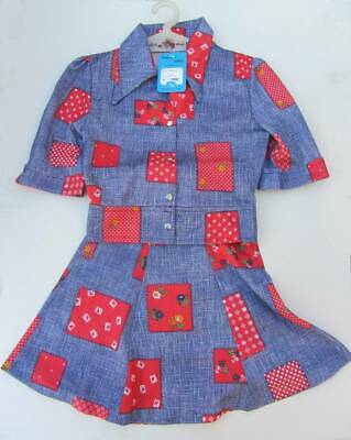 vintage 60's 70's deadstock girls skirt and top ages 5 and 10 patchwork hippy