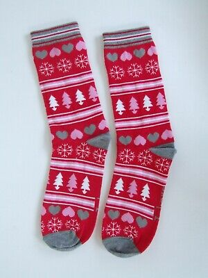Ladies/Girls sze 4-8 Christmas novelty socks stretchy cotton rich.Red