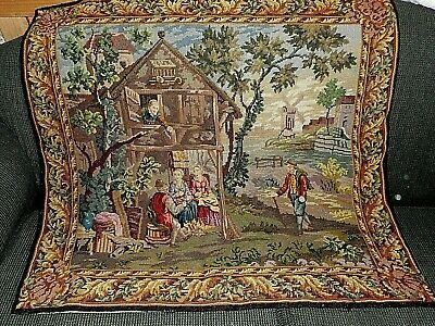 Beautiful antique hand worked tapestry with petit point details