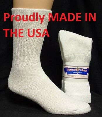 Men's Diabetic Crew Socks, Physicians Choice White Diabetic Socks Size 10-13