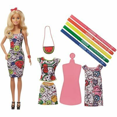 Barbie Doll Play Set Loves Crayola Color-In Fashions Doll from 5 J Mattel GGT44