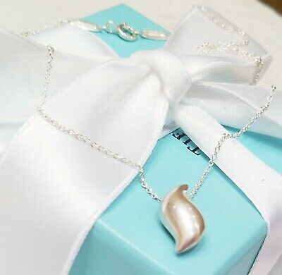 Tiffany & Co Sterling Silver 925 Elsa Peretti Feather Necklace Wavy Leaf Pendant