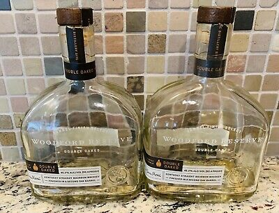 Lot of 2 Empty Woodford Double Oak Liquor Bourbon Bottles Arts & Crafts 750 ml