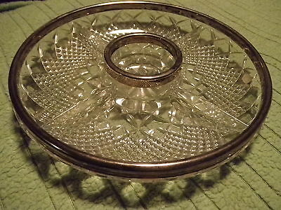 24% lead crystal, silver plated, relish/pickle dish [ Very heavy ]