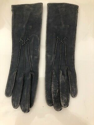 Vintage Soft Blue Leather Gloves Size Small