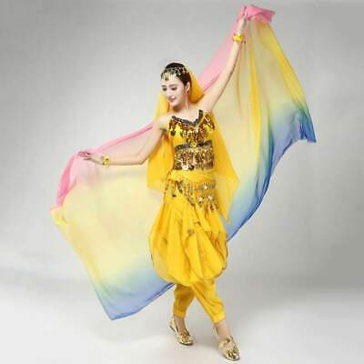 Belly Dance Veil (Chiffon, Blue/Yellow/Pink Gradient, UK Seller) - Used