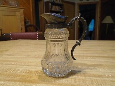 Antique Glass - Glass and Silver Pitcher...don't know what used for