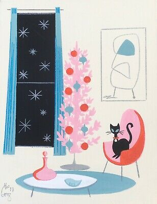 El Gato Gomez Retro Vintage Pink Christmas Tree Holiday Mid Century Modern Cats