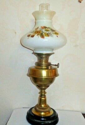 "Youngs Court Vintage Oil Lamp 25"" High  Brass / Stone Base  + Chimney & Shade"