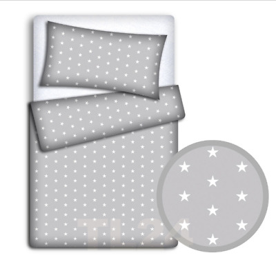 BABY BEDDING SET 120x90 PILLOWCASE DUVET COVER 2PC FIT COT  WHITE STARS ON GREY
