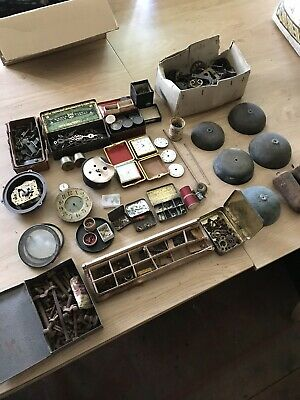 Job Lot Vintage clock parts pendulum pinions cogs hands weights bells restorer