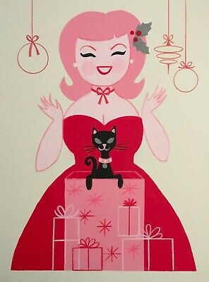 El Gato Gomez Retro Vintage Christmas Holiday Mid Century Modern Pinup Girls Cat
