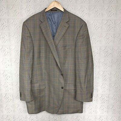 Peter Millar Sport Blazer Jacket Mini Houndstooth Plaid 100% Wool Brown Mens 50S