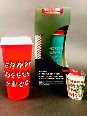Starbucks Holiday Reusable Cold Cups 5 Pack & Merry Coffee Red Cup w/ Ornament