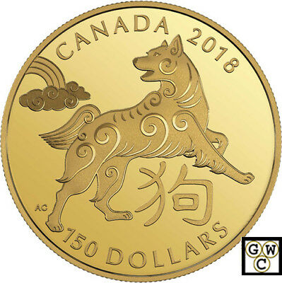 2018 Gold 18K 'Year of the Dog' $150 Proof 18K Gold Coin (18228)