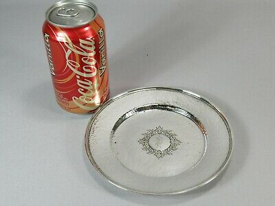 """Rare Schofield Sterling Silver 6.25"""" Bread Plate Dish Hand Hammered """"P"""" Initial"""