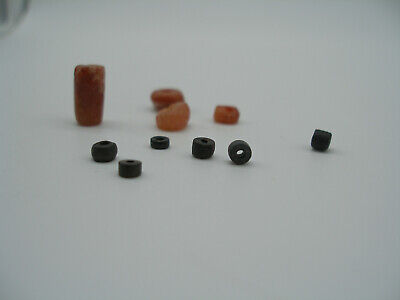 10 ~ Pre-Columbian  Tairona  Carnelian Agate And Black Clay Beads ~  Reduced 20%