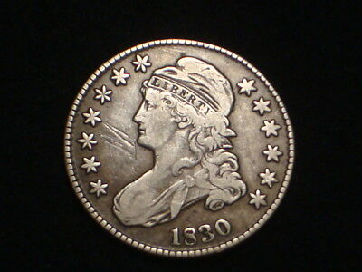 """1830 Capped Bust Half Dollar """"Lettered Edge"""" Rare Xf/Xf+"""