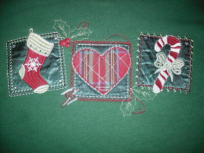Holiday Editions Christmas Sweatshirt M Medium Women's Candy Cane Stocking Heart