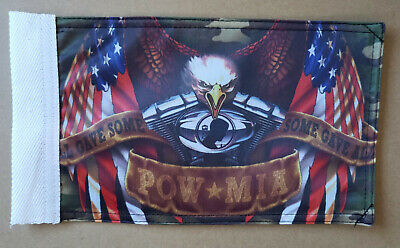 Hot Leathers FGB102 POW MIA Eagle Double 6 x 9 Motorcycle Flag