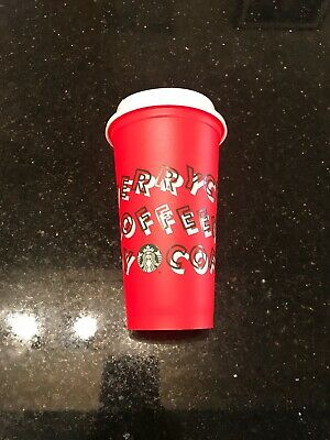 Starbucks 2019 Holiday Reusable Red Hot Cup Grande 16oz BPA Free Plastic Coffee