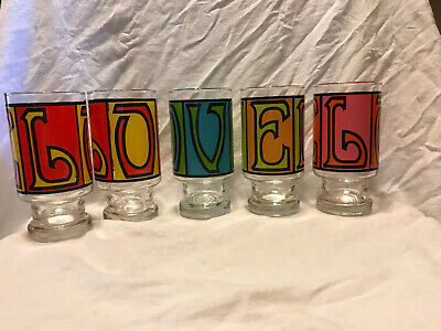 Vtg 5 Anchor Hocking LOVE Drinking Glasses Tumblers Retro 60s 70s Hippie Groovy