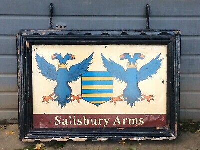 Large Antique Wooden Pub Sign, Salisbury Arms, Double Sided Painted Sign 44""