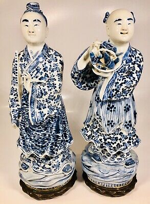 Antique 19th Century Chinese Blue & White Porcelain Figures Made into Bookends