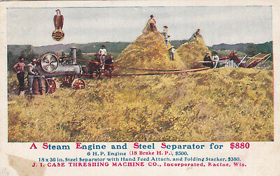 Case Tractor Advertisement Farming Postcard 1909