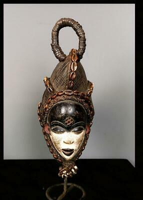 Old Tribal Punu Maiden Spirit Mask With Cowries and Beads --  Gabon