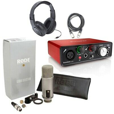 Rode Broadcaster Mic Pk w/Focusrite Scarlett Solo Interface, Headphone+XLR Cable