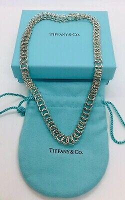 Tiffany & Co. Authentic Sterling Silver Double Heart Chain Link Necklace