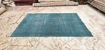 """Antique 1930-1940's Distressed Wool Pile Natural Dye Oushak Area Rug 3'7''x6'10"""""""