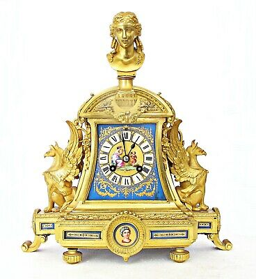 Exceptional Achille Brocot Antique French Ormolu & Sevres Porcelain Mantel Clock
