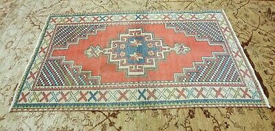 """Antique 1930-1940's Distressed Wool Pile Natural  Dye Oushak Area Rug 3'7''x6'9"""""""