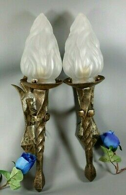 French Antique Wrought Iron Torch Medieval Chateau Wall Sconce Light PAIR Lamps