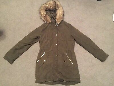 Girls New Look Khaki Parka Style Hooded Winter Coat 915 Generation Age 12-13 Yrs