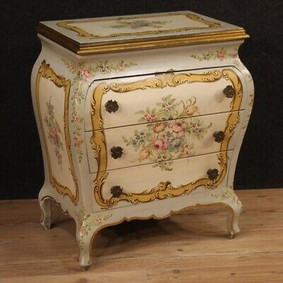 Dresser Convex Wooden Lacquered & Painting Antique Style Furniture Bedside Table