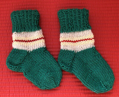 New Childrens Kids Unisex Ankle Wool Hand Knitted Stripes Stretch Socks 11 Cm