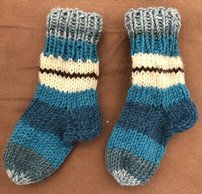 New Childrens Kids Baby Ankle Wool Hand Knitted Stripes Stretch Socks 9 Cm