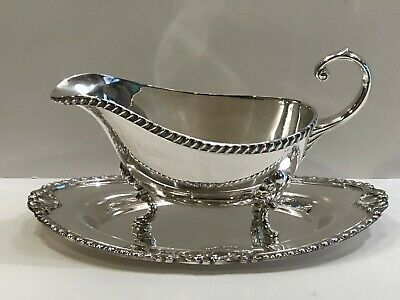 1950's ANTIQUE CRESCENT SILVERPLATE FOOTED GRAVY SAUCE BOAT w/ TRAY SET - # 6058