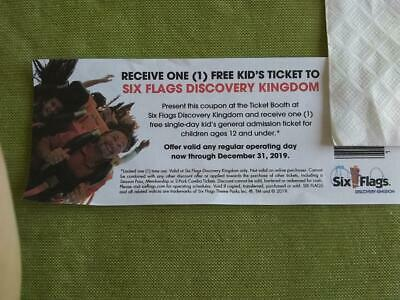 Six Flags Discovery Kingdom Ticket Voucher Coupon Good for Kids Under 12