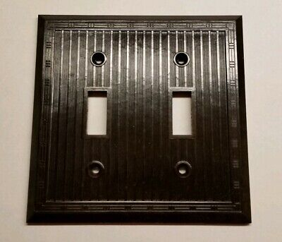 1 NOS Vintage Brown Double Gang Ribbed Switch Plate USA CSA Retro Mid Century