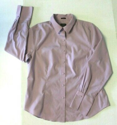 Talbots Petites Womens 12P blouse wrinkle resistant lavender covered buttons