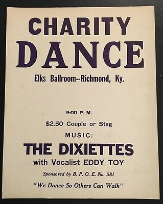"1950's ELKS Ballroom "" The Dixiettes"" Charity Dance Poster - Richmond, Ky."