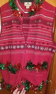 Homemade Ugly Christmas Sweater Vest Twinkle Lights & Garland Womens Plus Sz 2XL