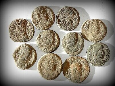 10 ANCIENT ROMAN COINS AE3 - Uncleaned and As Found! - Unique Lot 30618