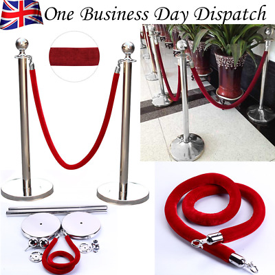 2pcs Queue Rope Barrier Stand Velvet Rope Isolation Railing Line Stanchion Posts