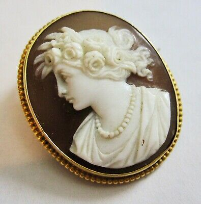 Antique Victorian 15K 15CT Yellow Gold Carved Shell Cameo Brooch Pendant