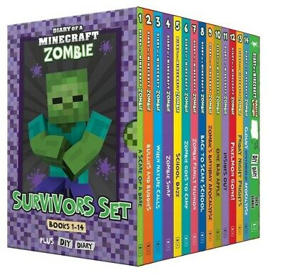 Diary of a Minecraft Zombie: Survivors Books 1-14 + DIY Diary Box Set Kids 2019